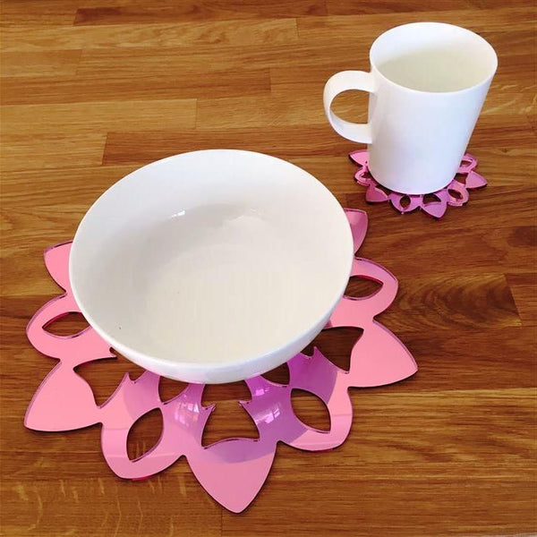 Snowflake Shaped Placemat and Coaster Set - Pink Mirror