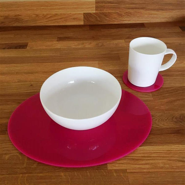 Oval Placemat and Coaster Set - Pink