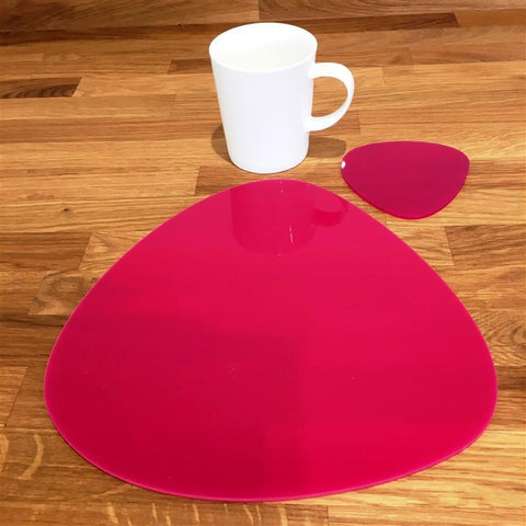 Pebble Shaped Placemat and Coaster Set - Pink
