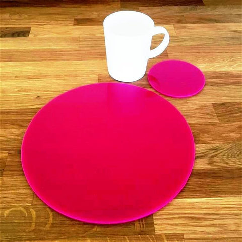Round Placemat and Coaster Set - Pink