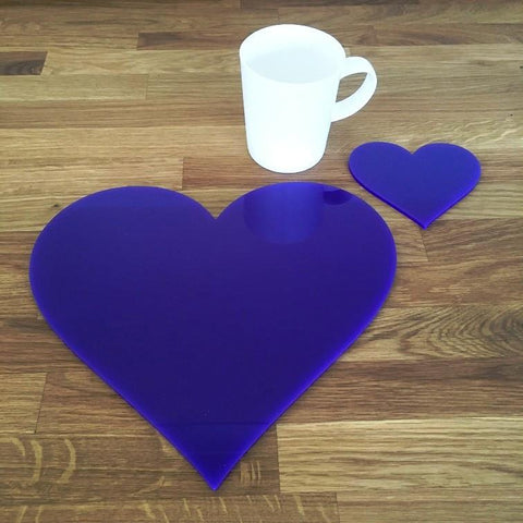 Heart Shaped Placemat and Coaster Set - Purple