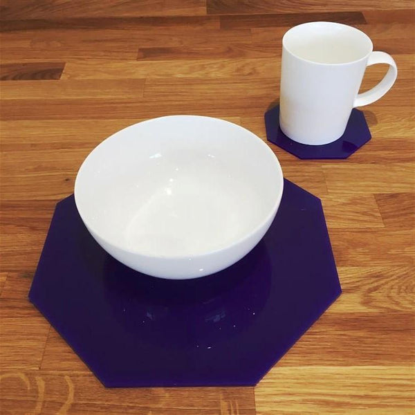 Octagonal Placemat and Coaster Set - Purple