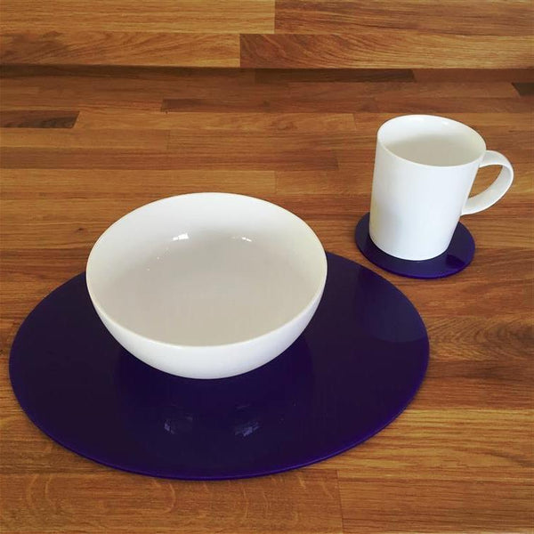 Oval Placemat and Coaster Set - Purple
