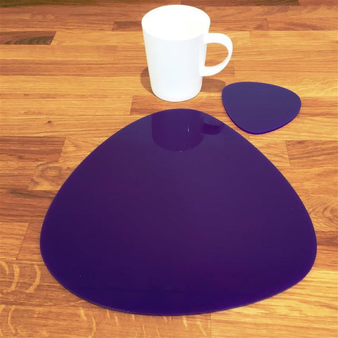 Pebble Shaped Placemat and Coaster Set - Purple