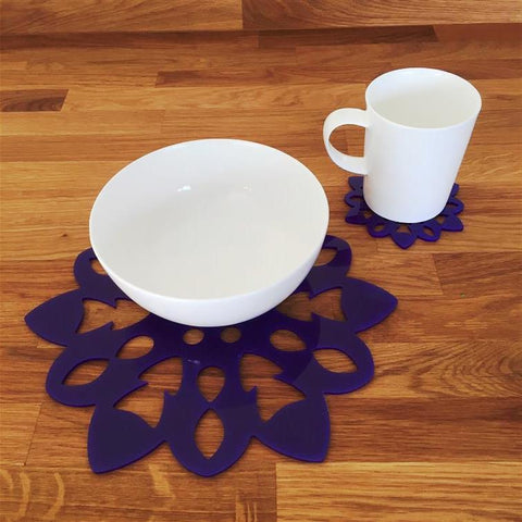 Snowflake Shaped Placemat and Coaster Set - Purple