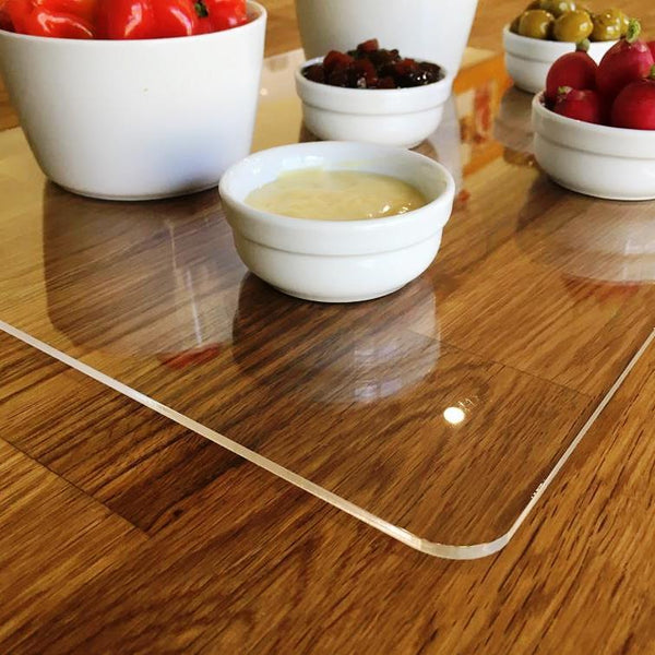 Oval Serving Mat/Table Protector - Red Gloss Acrylic