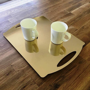 Rectangular Flat Serving Tray - Gold Mirror