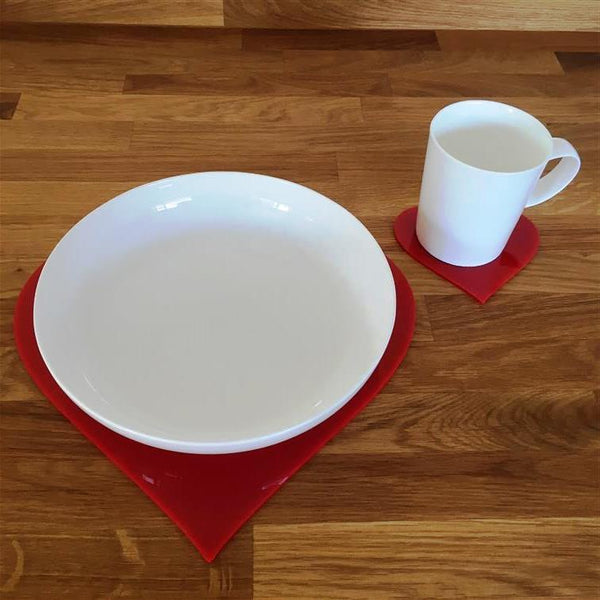 Heart Shaped Placemat and Coaster Set - Red