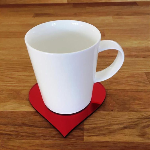 Heart Shaped Coaster Set - Red Mirror