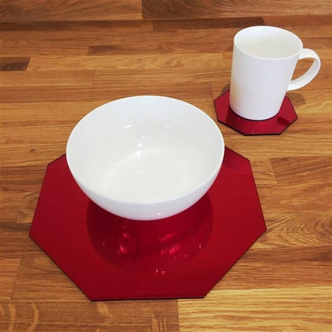 Octagonal Placemat and Coaster Set - Red Mirror