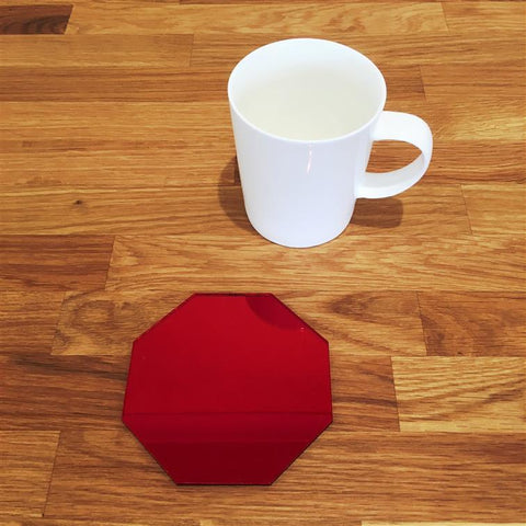 Octagonal Coaster Set - Red Mirror