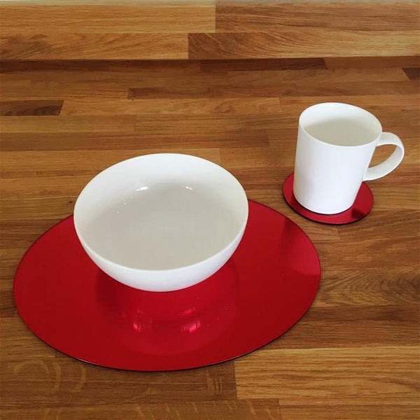 Oval Placemat and Coaster Set - Red Mirror