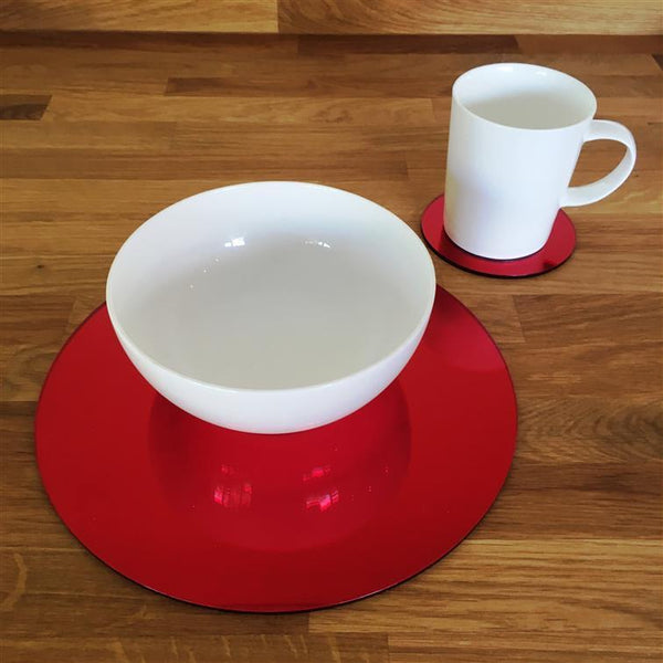 Round Placemat and Coaster Set - Red Mirror