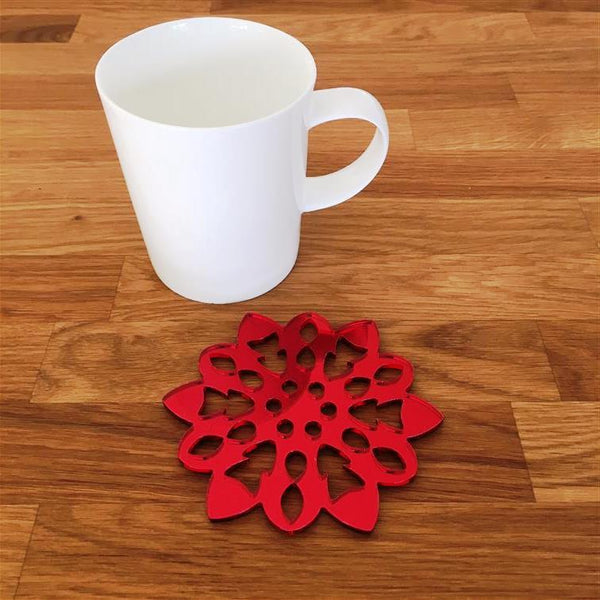 Snowflake Shaped Coaster Set - Red Mirror
