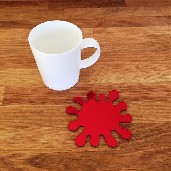 Splash Shaped Coaster Set - Red Mirror