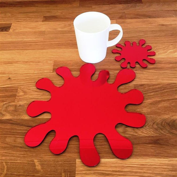 Splash Shaped Placemat and Coaster Set - Red Mirror