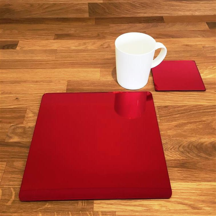 Square Placemat and Coaster Set - Red Mirror