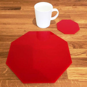 Octagonal Placemat and Coaster Set - Red