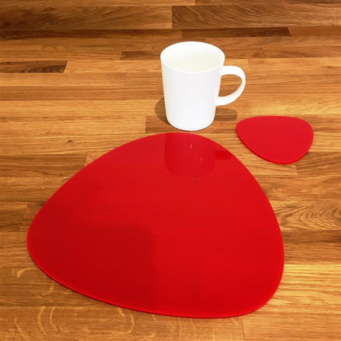 Pebble Shaped Placemat and Coaster Set - Red