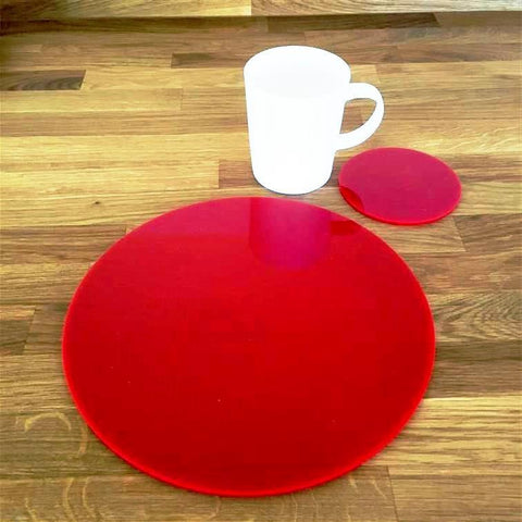 Round Placemat and Coaster Set - Red