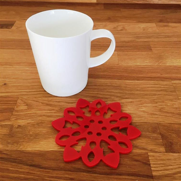 Snowflake Shaped Coaster Set - Red