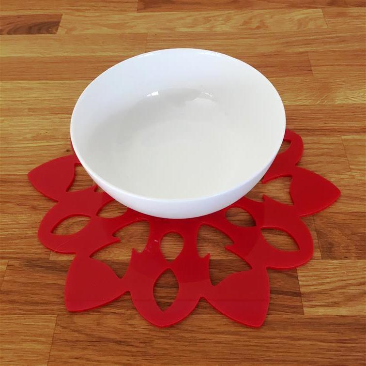 Snowflake Shaped Placemat Set - Red
