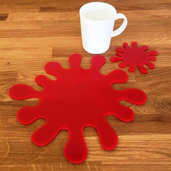 Splash Shaped Placemat and Coaster Set - Red