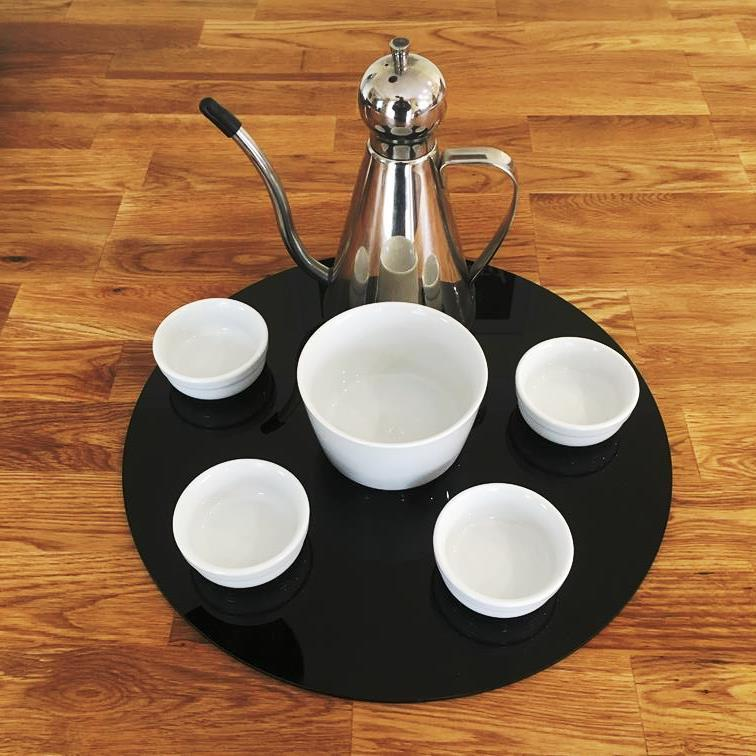 Round Serving Mat/Table Protector - Black Gloss