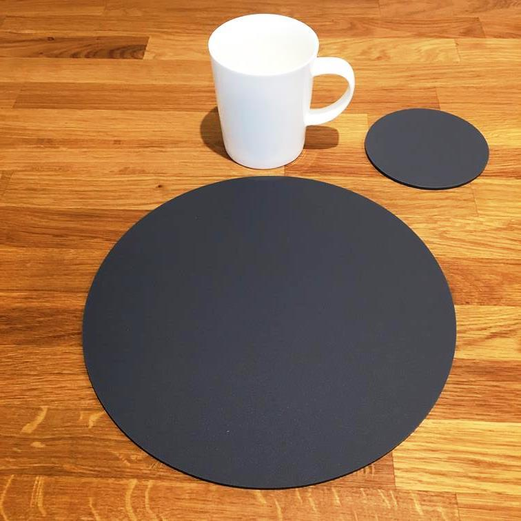 Round Placemat and Coaster Set - Graphite Grey