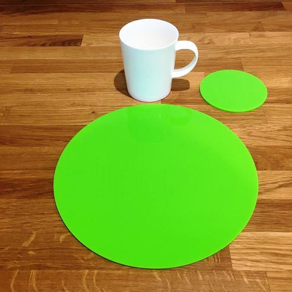 Round Placemat and Coaster Set - Lime Green