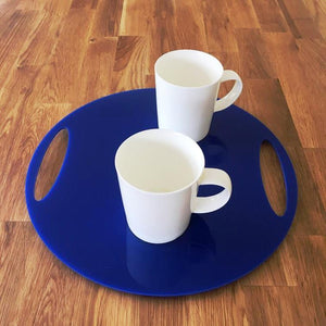 Round Flat Serving Tray - Blue