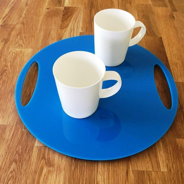 Round Flat Serving Tray - Bright Blue