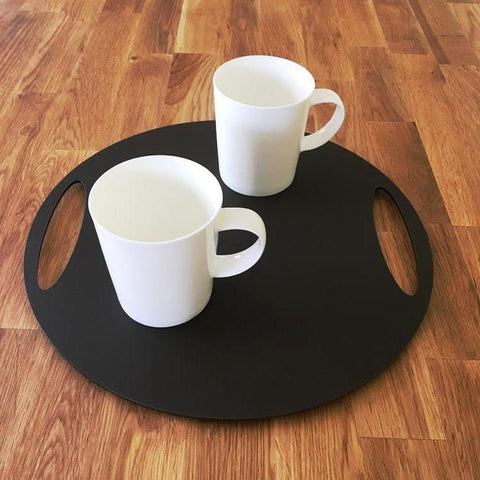 Round Flat Serving Tray - Mocha Brown