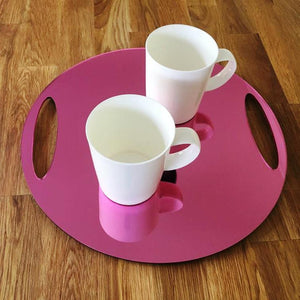 Round Flat Serving Tray - Pink Mirror