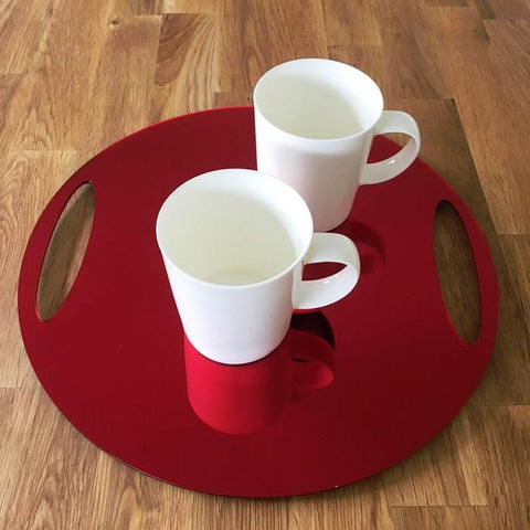 Round Flat Serving Tray - Red Mirror