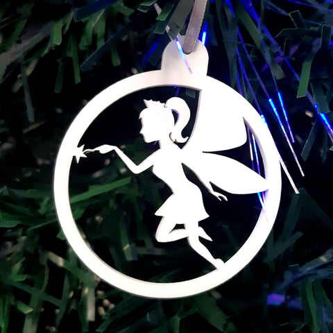 Round Fairy Christmas Tree Decorations Matt Pastel Colours