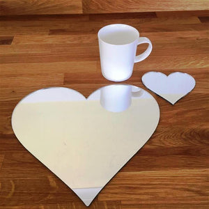 Heart Shaped Placemat and Coaster Set - Mirrored