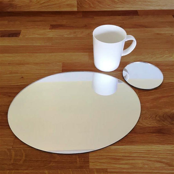 Oval Placemat and Coaster Set - Mirrored