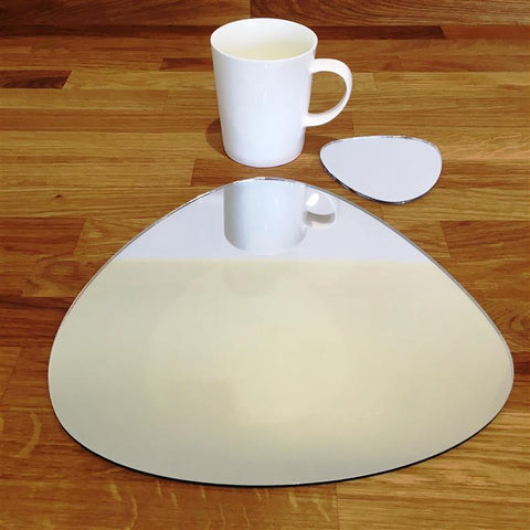 Pebble Shaped Placemat and Coaster Set - Mirrored