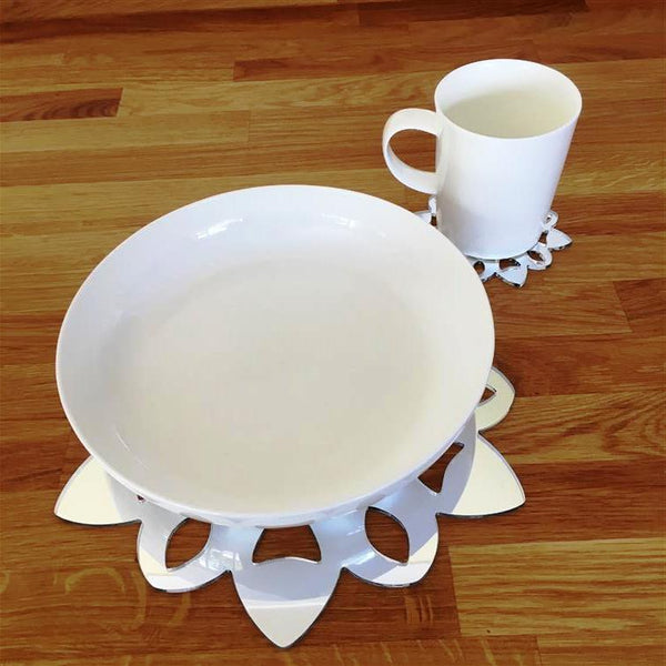 Snowflake Shaped Placemat and Coaster Set - Mirrored