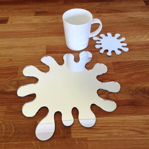 Splash Shaped Placemat and Coaster Set - Mirrored