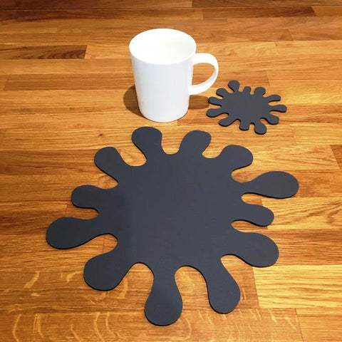 Splash Shaped Placemat and Coaster Set - Graphite Grey