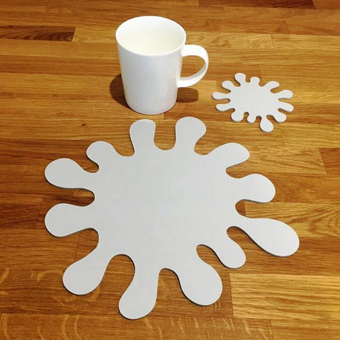 Splash Shaped Placemat and Coaster Set - Light Grey