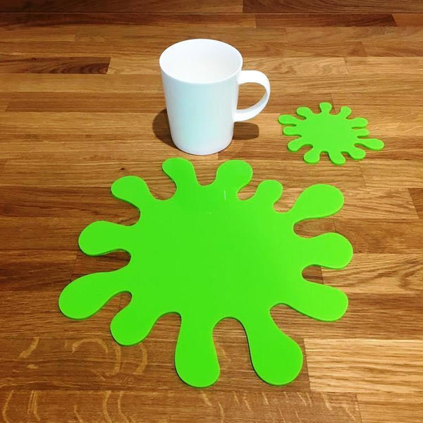 Splash Shaped Placemat and Coaster Set - Lime Green