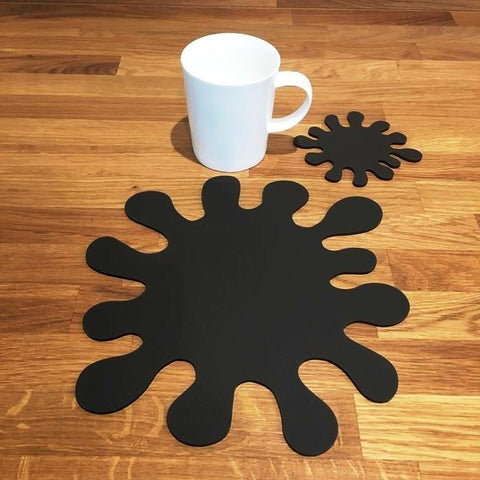 Splash Shaped Placemat and Coaster Set - Mocha Brown