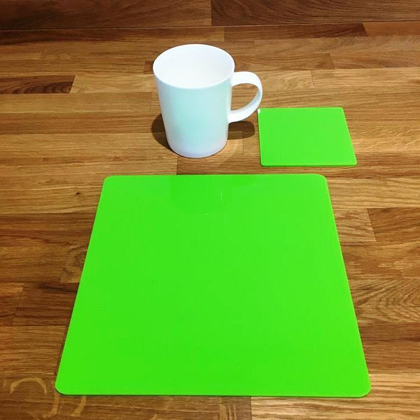 Square Placemat and Coaster Set - Lime Green