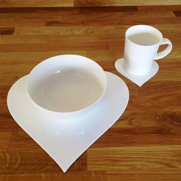 Heart Shaped Placemat and Coaster Set - White