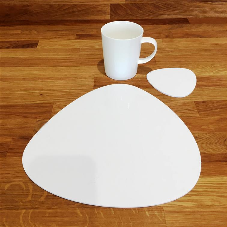 Pebble Shaped Placemat and Coaster Set - White