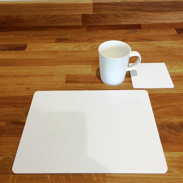 Rectangular Placemat and Coaster Set - White