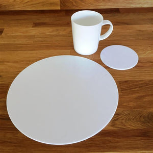 Round Placemat and Coaster Set - White